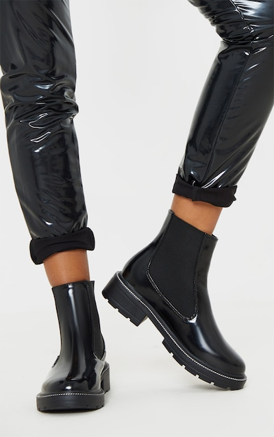 Black Chain Sole Cleated Chunky Chelsea Ankle Boot