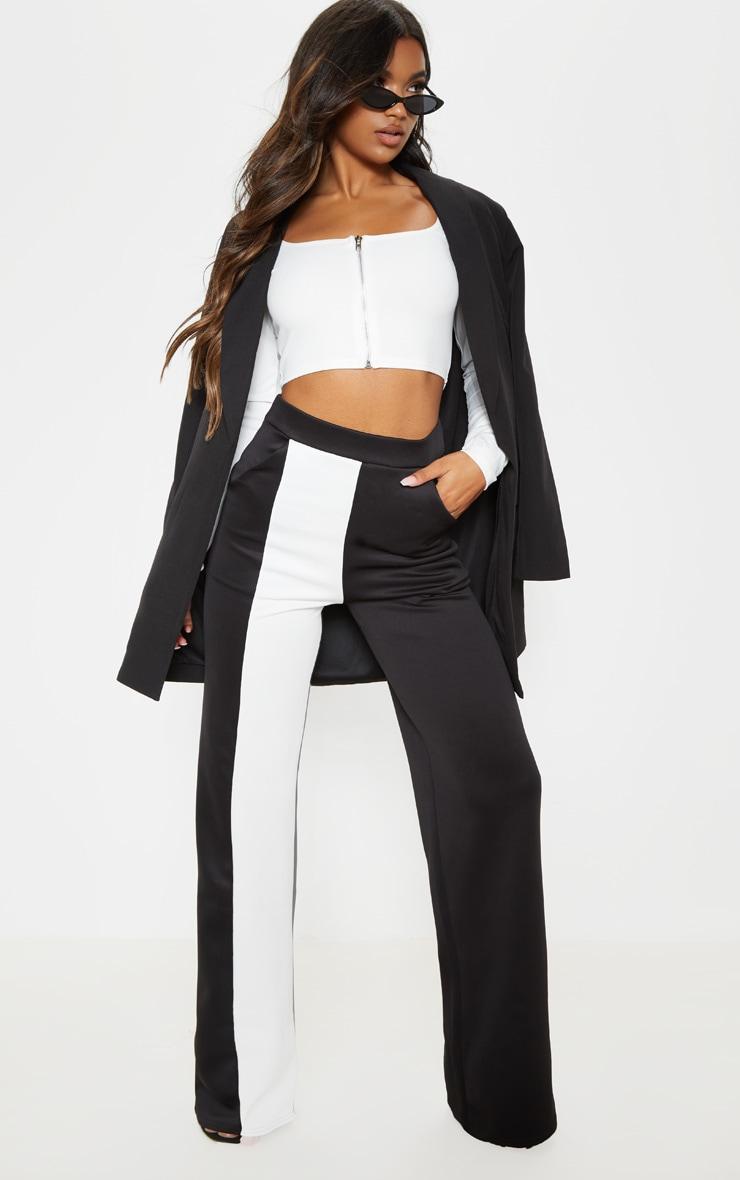 Pantalon ample à parties contrastées blanches en néoprène 1