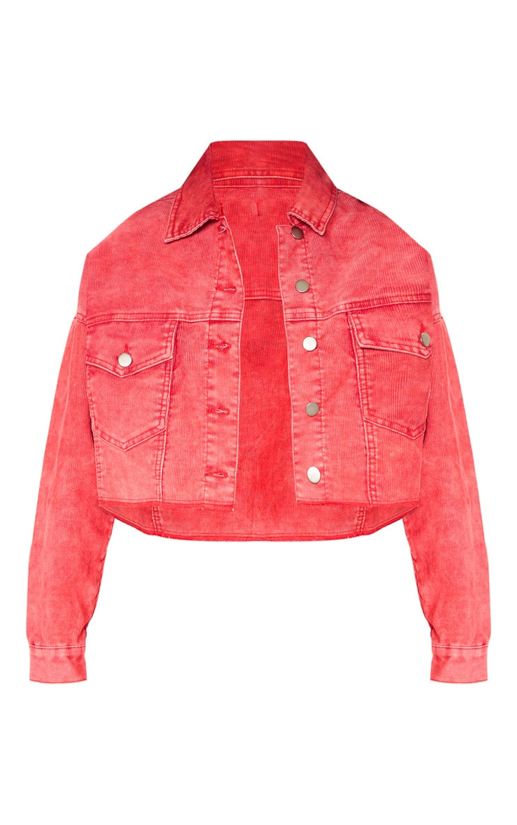Washed Red Raw Hem Denim Jacket  3