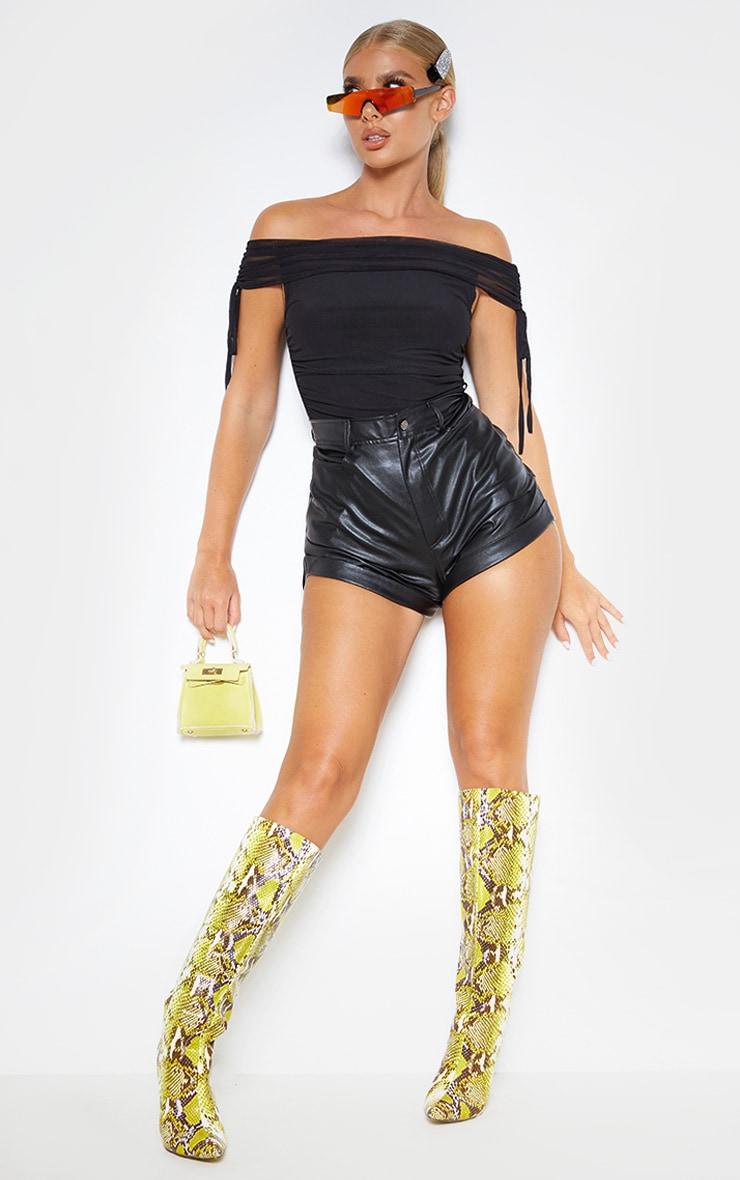 Black Sheer Ruched Mesh Bardot Bodysuit 1