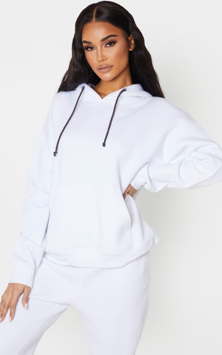 White Pocket Front Oversized Hoodie 1