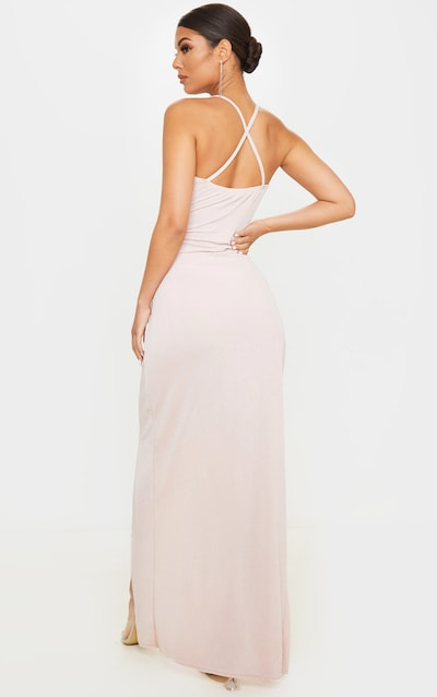 Nude Strappy Textured Glitter Plunge Ruched Maxi Dress