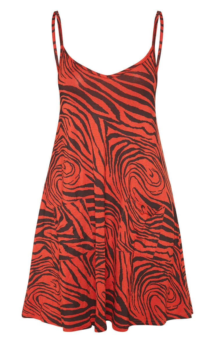 Rust Tiger Print Pocket Front Swing Dress 3