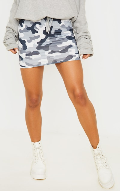 Grey Camo Print Mini Skirt