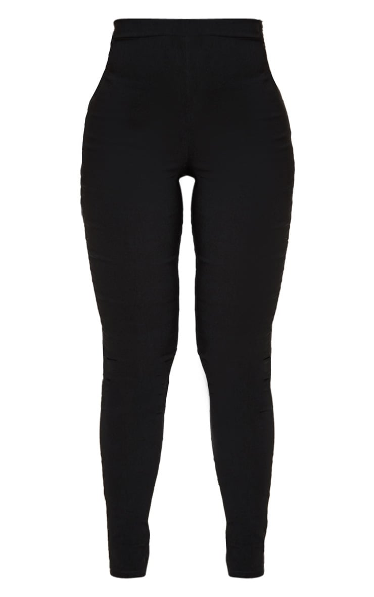 Black High Waisted Woven Stretch Legging 3