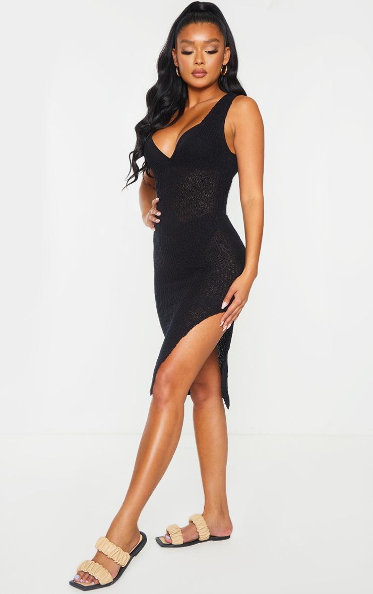 Black V Neck Open Knitted Midi Side Split Dress