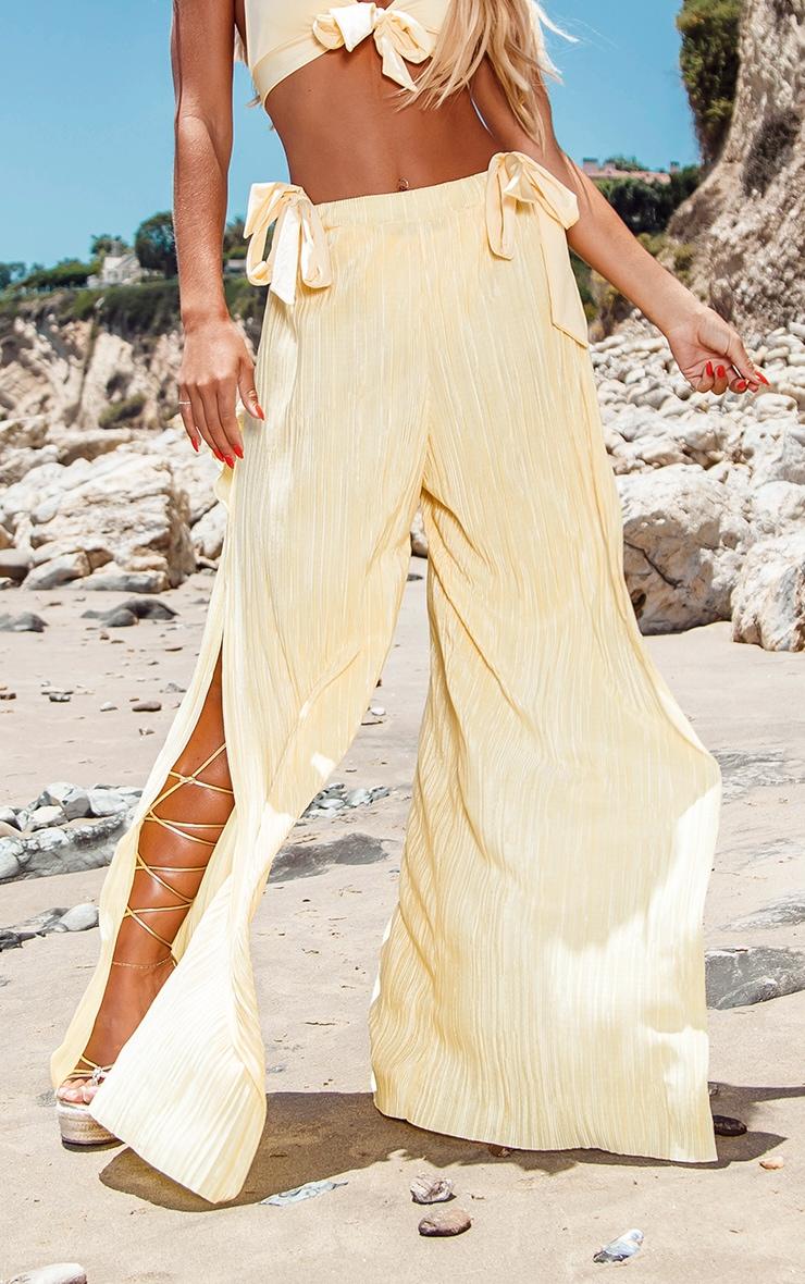 Lemon Split Leg Plisse Beach Pants 2