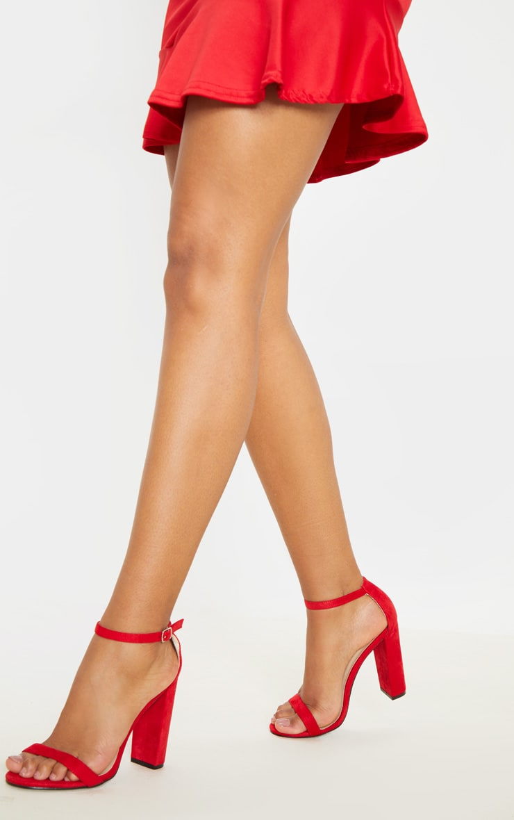 Red Faux Suede Block Heeled Sandals  2