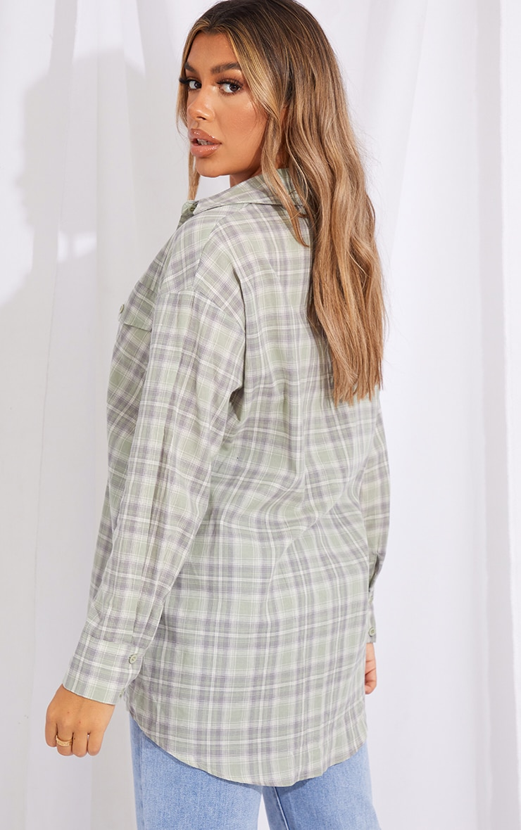 Sage Checked Oversized Pocket Detail Shirt 2