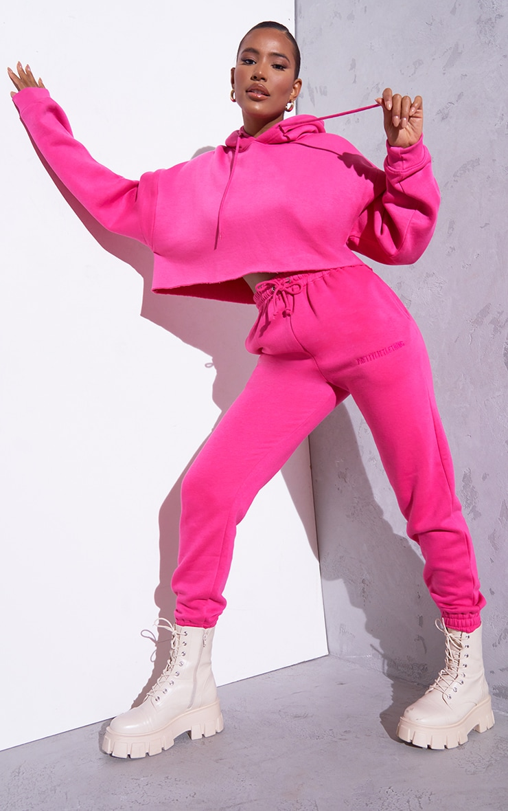 RENEW Pink Oversized Crop Hoodie 3