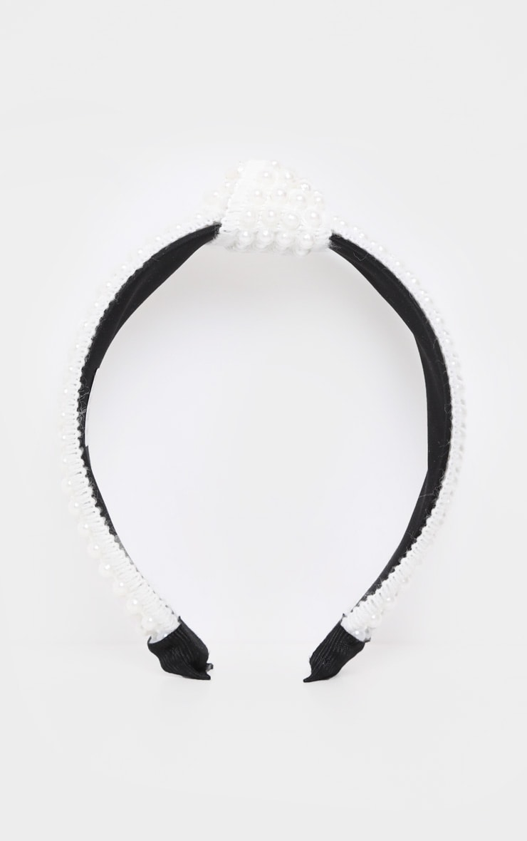 White Woven Knotted Pearl Headband 3