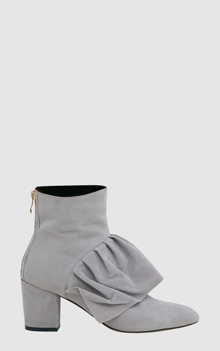 Grey Faux Suede Frill Ankle Boots 3