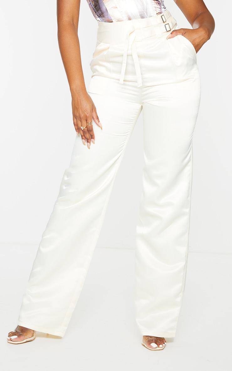 Cream Satin Buckle Detail Wide Leg Trousers 2