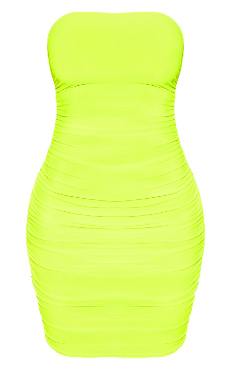 PRETTYLITTLETHING Neon Lime Ruched Bandeau Bodycon Dress 3
