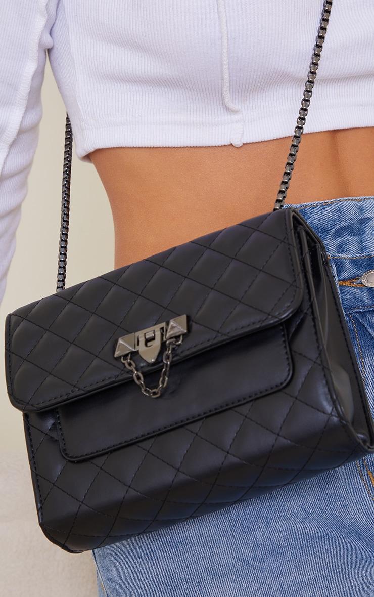 Black Diamond Quilted Cross Body Bag 3