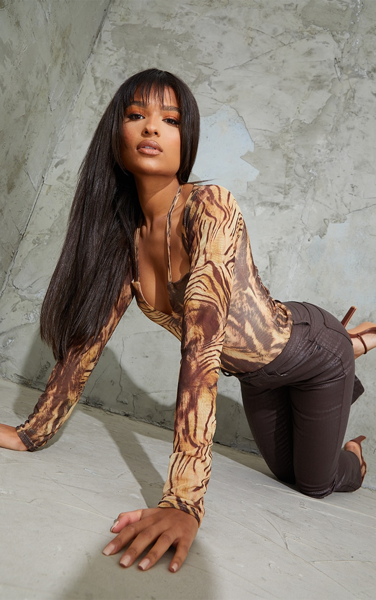 Nude Animal Printed Mesh Halterneck Long Sleeve Bodysuit 3