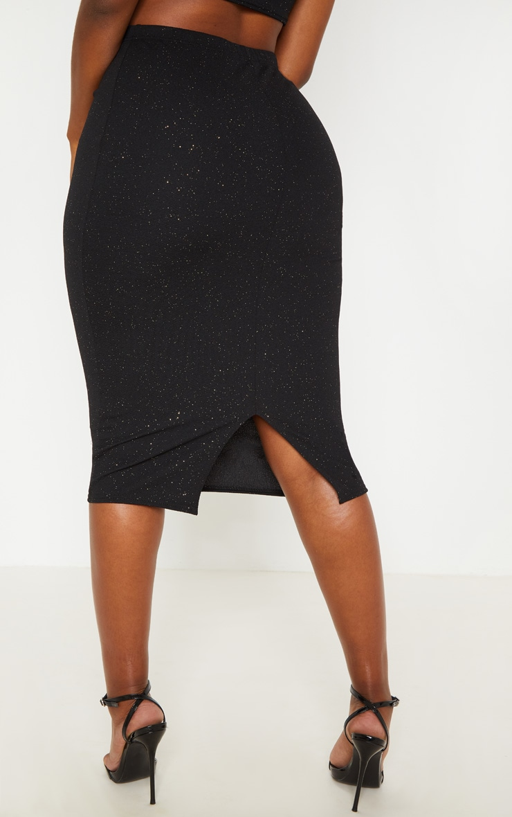 Shape Black Crepe Glitter Midi Skirt 3