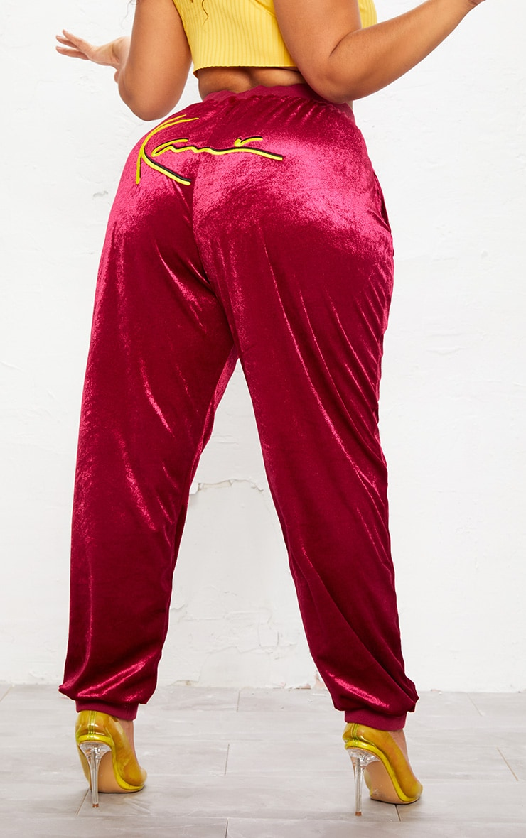 KARL KANI Maroon Velour Embroidered Joggers 6