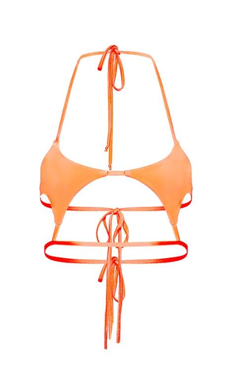 Neon Coral Diamond Cut Out Bikini Top 3
