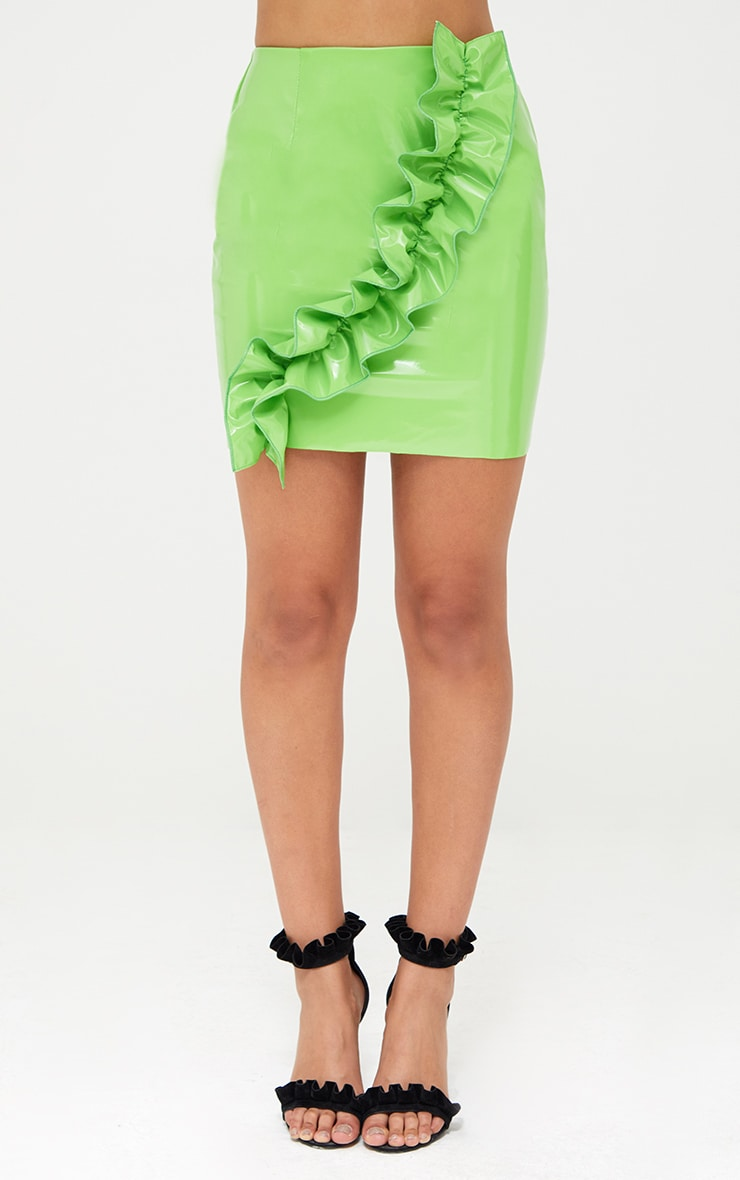 Lime Green Oversized Ruffle Vinyl Mini Skirt 2