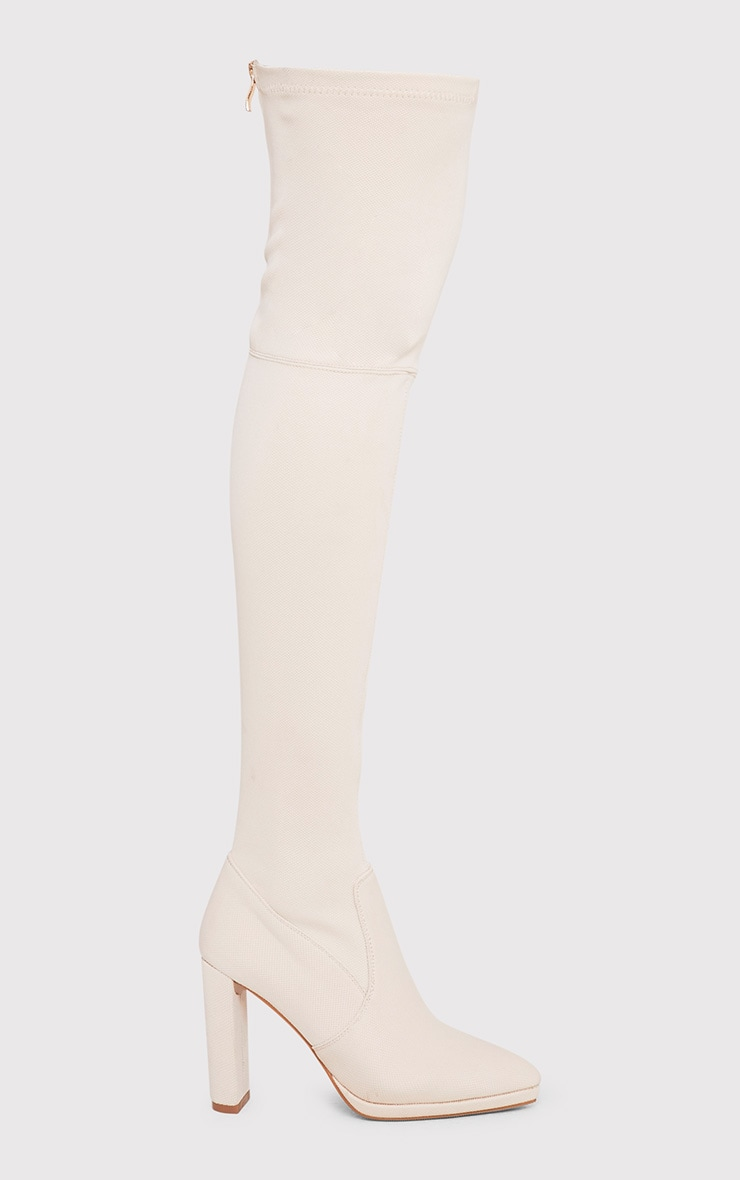 Riyah Stone Knitted Pointy Thigh High Sock Boots 1