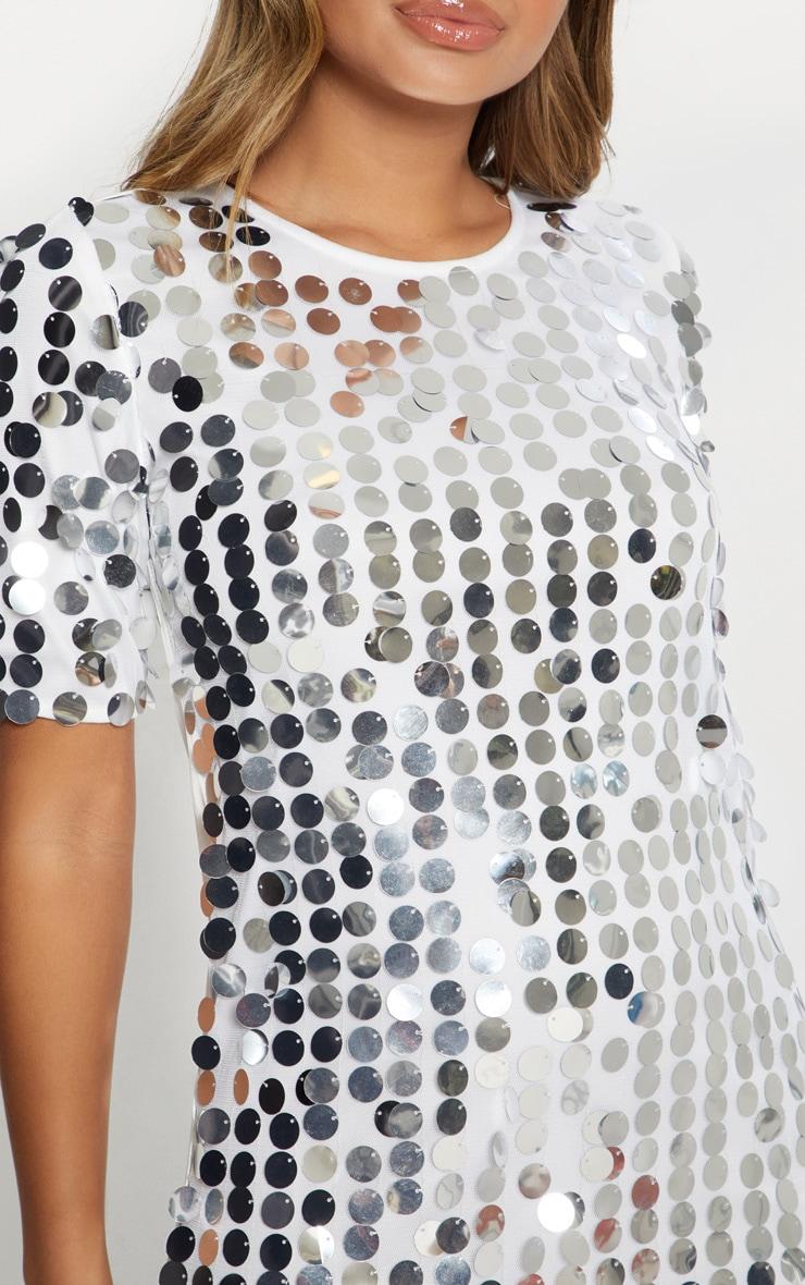 Silver Sequin T- Shirt Dress 4