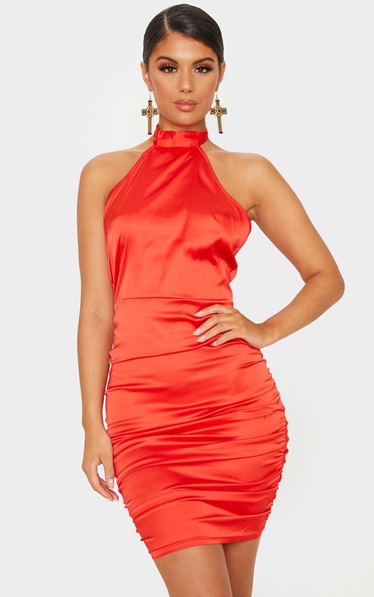 Red Satin Ruched Halterneck Bodycon Dress 2
