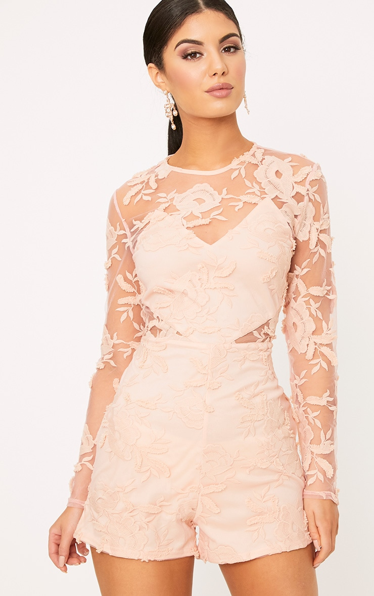 Georgia Nude Flower Lace Playsuit 1