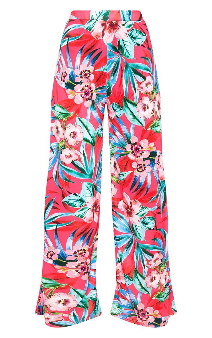 Fuchsia Tropical Floral Print Wide Leg Trousers 5