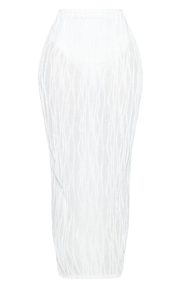 Shape White Textured Rib Midaxi Skirt 5