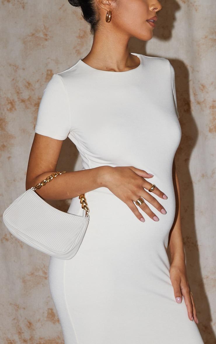 Recycled Maternity Cream Contour Jersey Short Sleeve Midi Dress 4