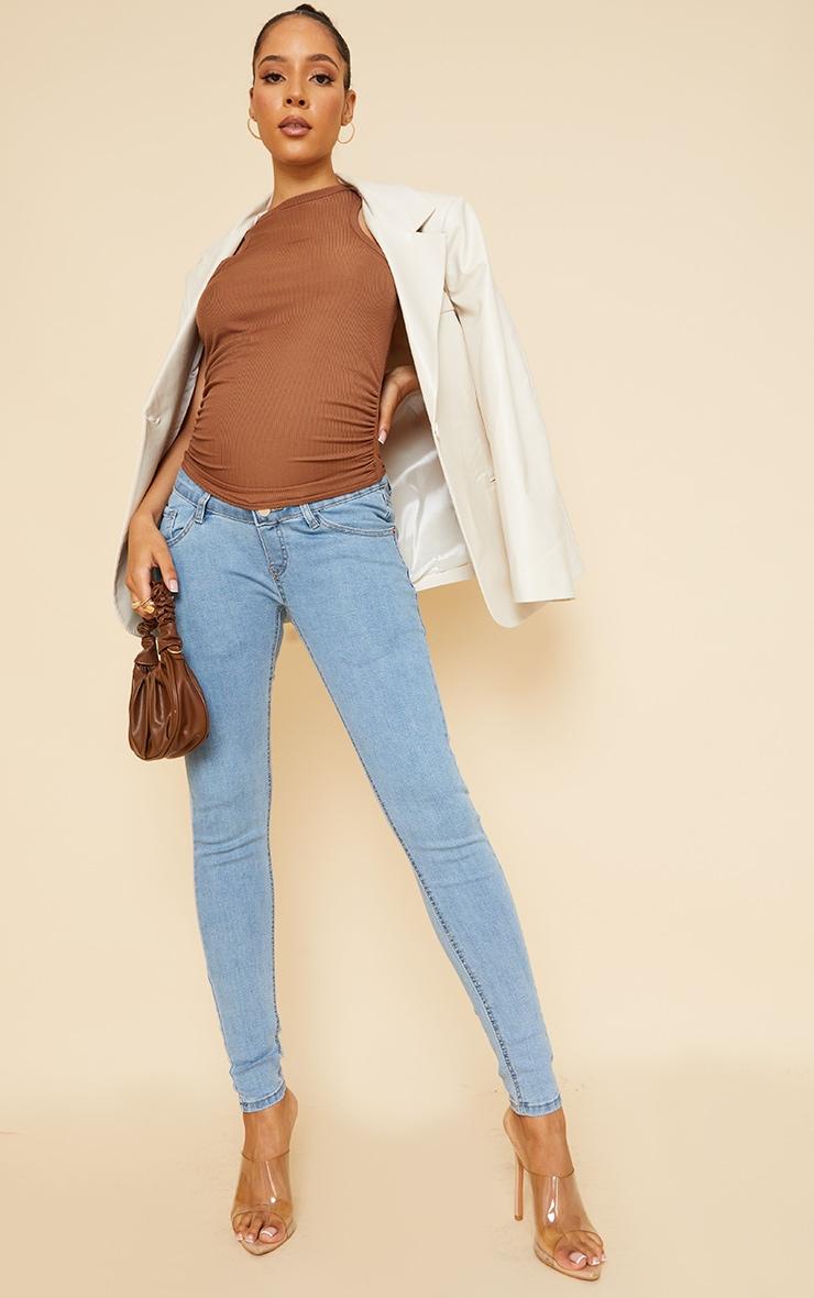 Maternity Blue Wash Skinny Jeans 1