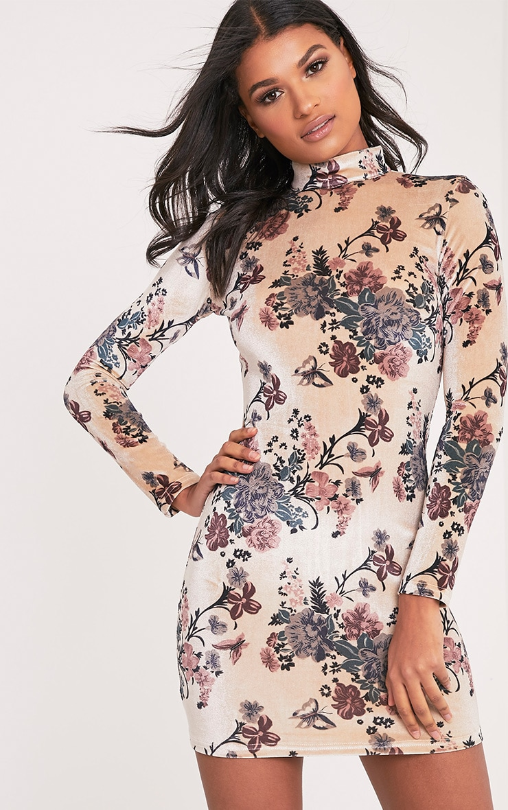 Kirah Cream High Neck Floral Velvet Bodycon Dress 1