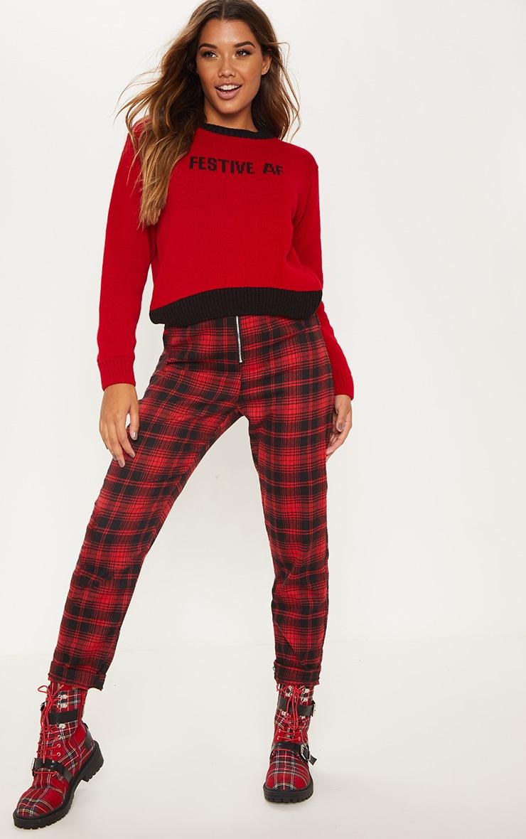 Red Festive AF Slogan Sweater  4