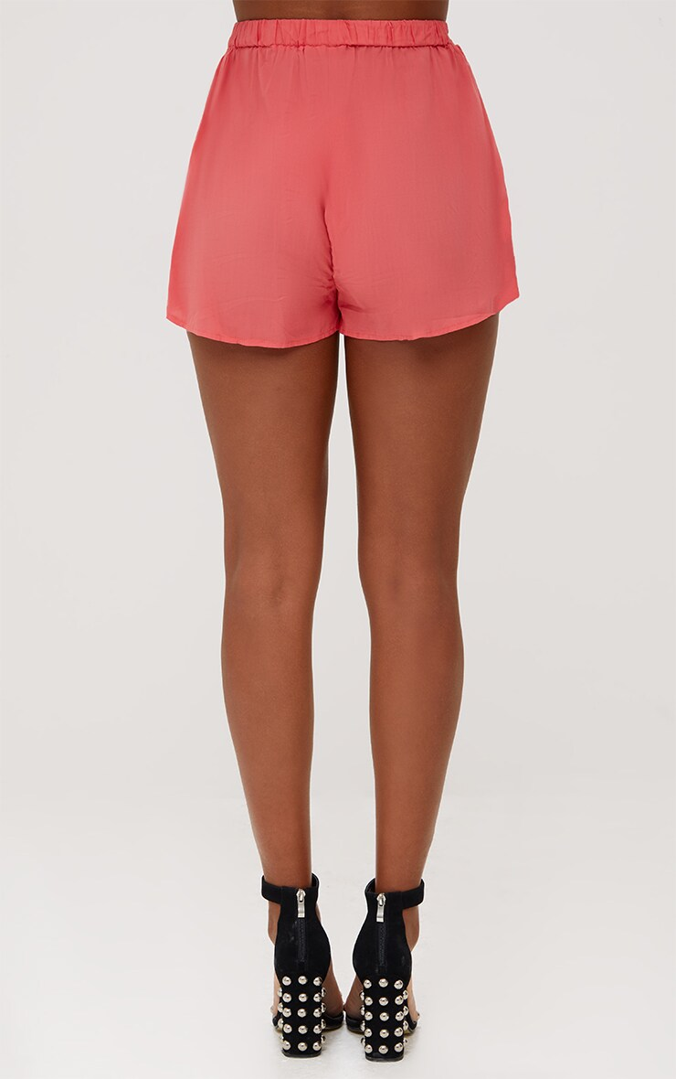 Coral Sequin Shorts 4
