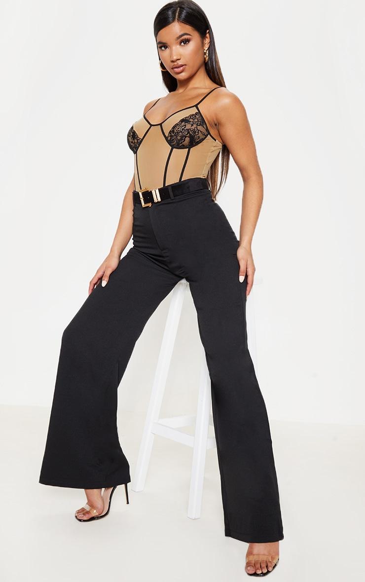 Nude Sheer Mesh Contrast Binding Strappy Bodysuit 5