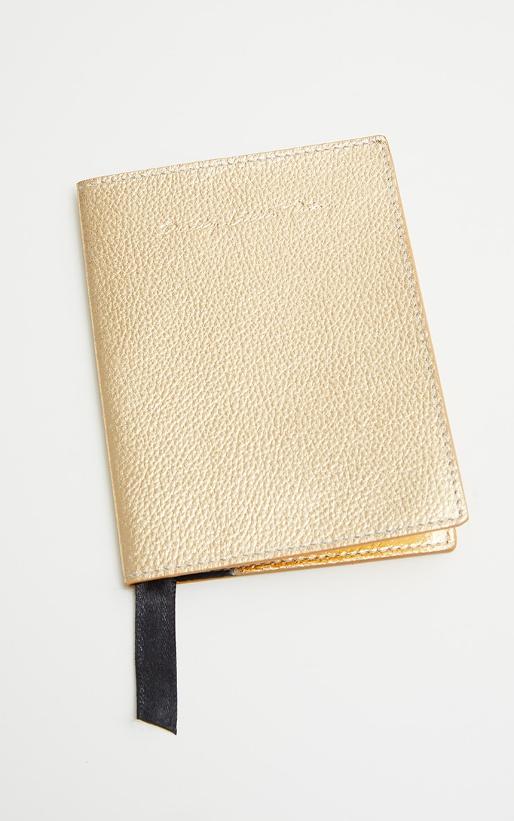 PRETTYLITTLETHING Gold Real Leather Croc Passport Holder 2