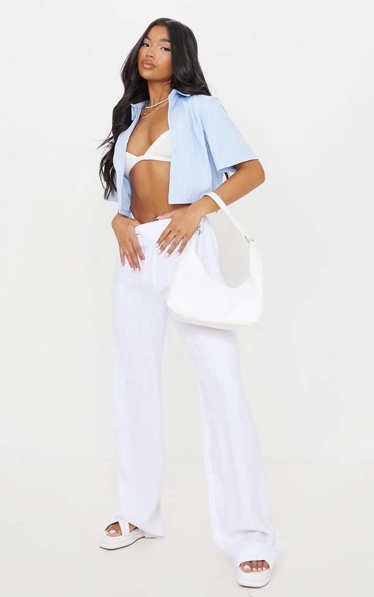 Blue Pinstripe Linen Feel Short Sleeve Crop Shirt 3