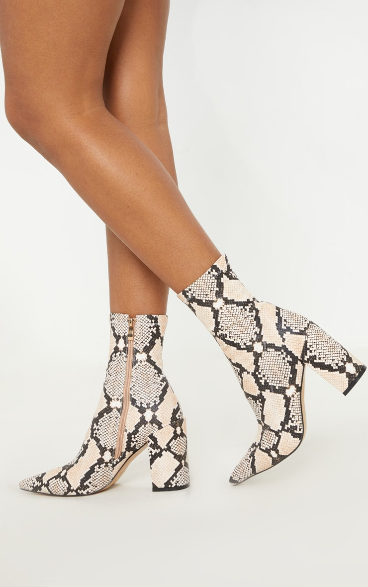 Snake Mid Heel Point Ankle Sock Boot 2