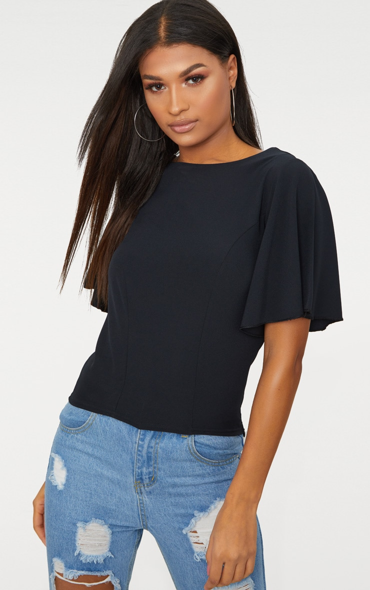 64081e5c0bf8a Black Batwing Crop Top image 1