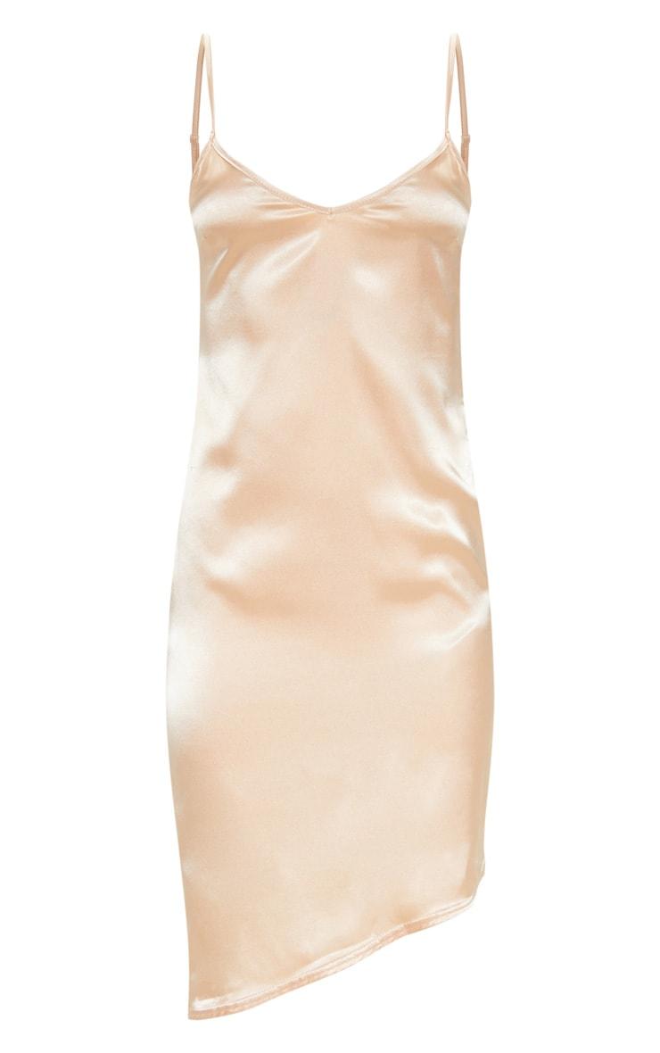 Peach Satin V Neck Midi Dress  3