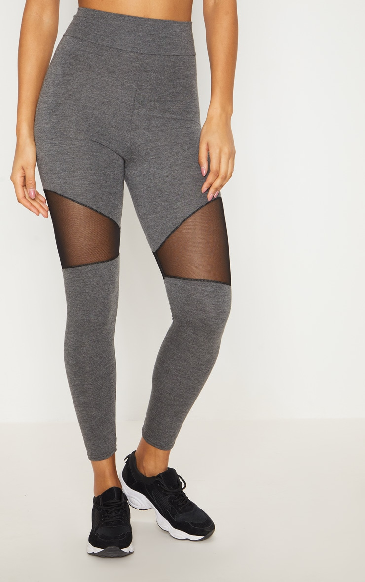 Grey Mesh Panel Jersey Legging  2