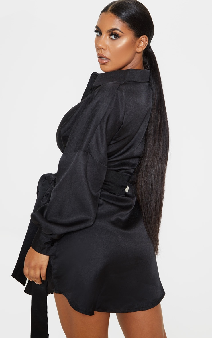 Black Belted Tie Shirt Dress 2