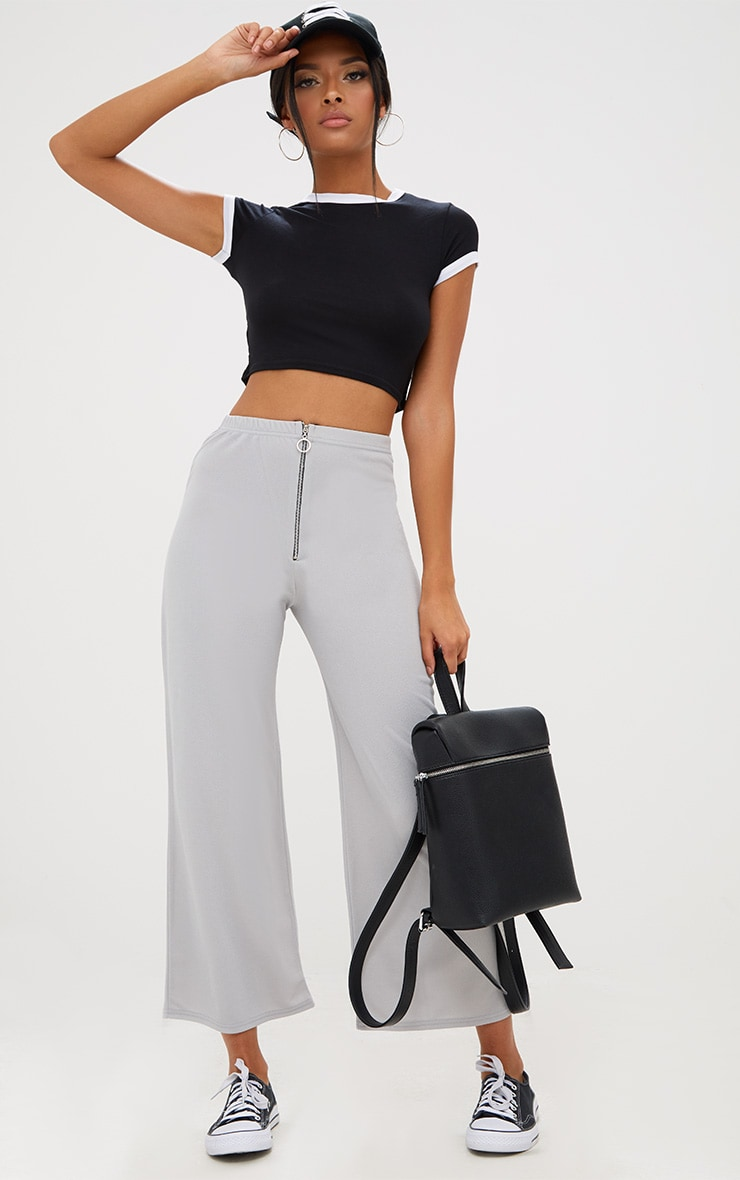Grey Ring Zip Culottes 1