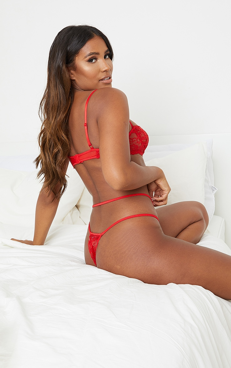 Red Underwired Binding Detail Lace Lingerie Set 2