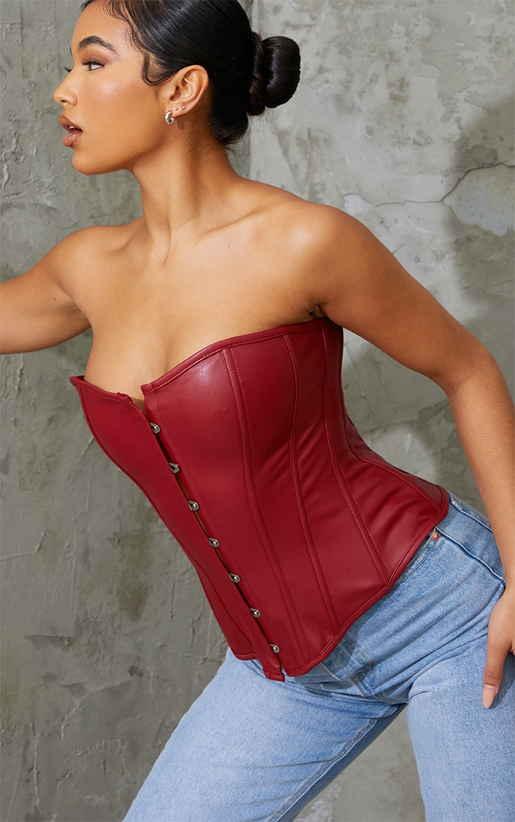 Burgundy Pu Lace Up Corset 4