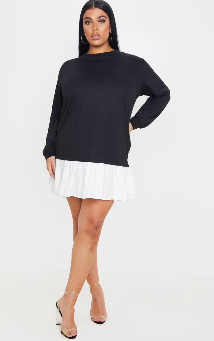 Plus Black Frill Hem Sweat Dress 1