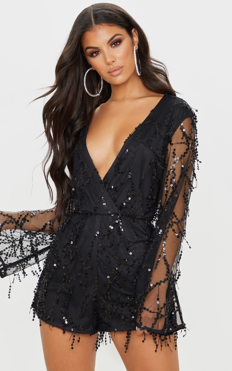 Black Sequin Wrap Playsuit 1