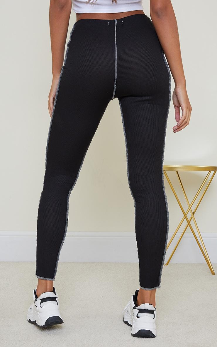 Legging côtelé noir à coutures contrastantes 3