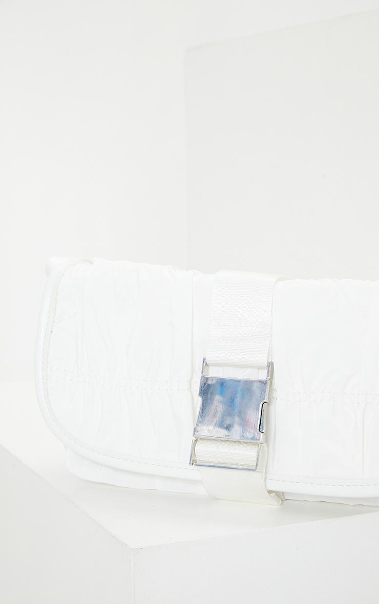 White Front Buckle Ruched Shoulder Bag 2